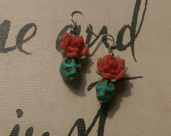 Turquoise Sugar Skull and Red Rose Dangle Earrings