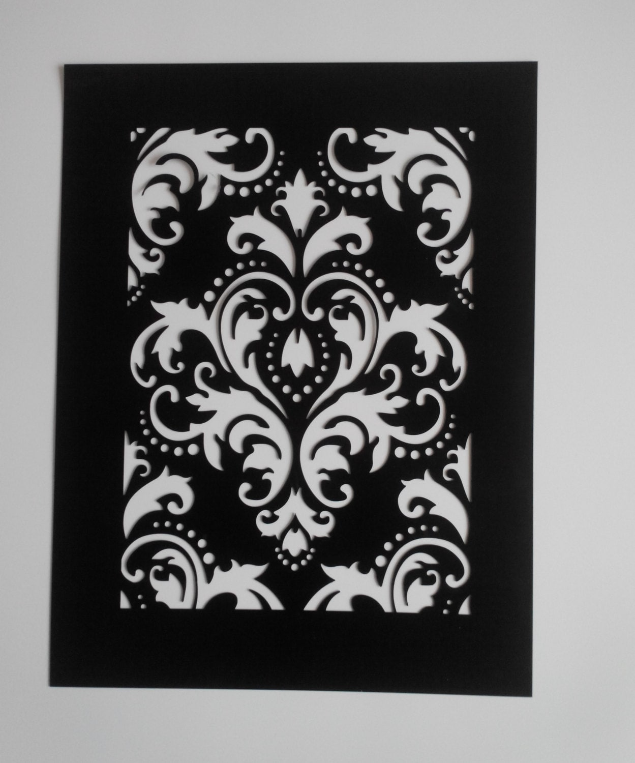 reusable plastic damask stencil painting art supply wall art damascus from yarmart on etsy. Black Bedroom Furniture Sets. Home Design Ideas