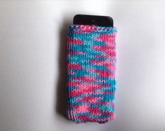 Marbled Blue and Pink Knit iPod Cozy