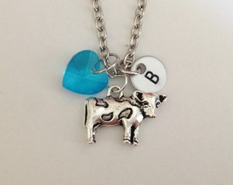 Personalized cow necklace - animal farm - birthstone - customized - best friend - friendship -birthday gift