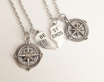 Compass necklace - Best friend necklace -heart necklace - love necklace - friendship - best friend - birthday gift