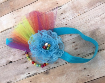 Rainbow headband. Rainbow dash headband. Flower headband. Birthday headband