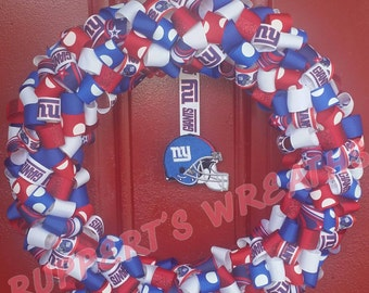 Show your New York Giants pride off with this NEW YORK GIANTS football ribbon wreath