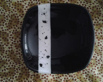 Fused Glass Bowl - Black with White Stripe