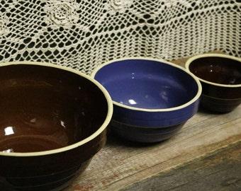 Brown & Blue Ceramic Bowl Set (3)