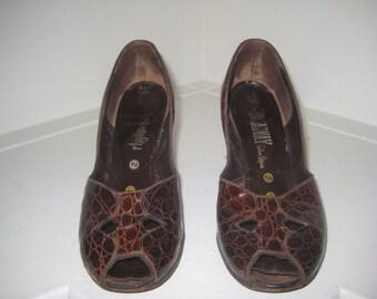 1950's Peep-Toe high heels/ Peep-Toe Brown Croco style Heels 1950's/ 1960's
