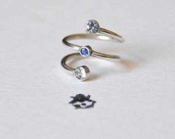 Auquamarine & Sapphire Spiral Midi Ring / Pinkie Ring