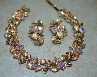 Vintage aurora borealis rhinestone bracelet and earrings set