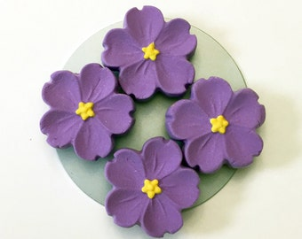 Purple and Yellow Flower Magnets Set of 4