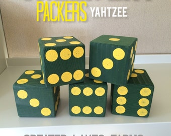Green Bay Packers Giant Yard Yahtzee- Sanded and Painted (wedding games, yahtzee, yard games, outdoor games)