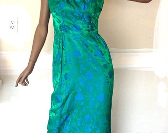 Vintage Mad Men Style Green Evening Gown