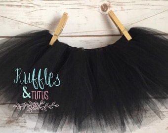 Baby Toddler Black Tutu Skirt Ribbon Tie Back Band - Perfect For Your Baby Or Toddler To Wear. Kids Tutu In A Few Other Colors.