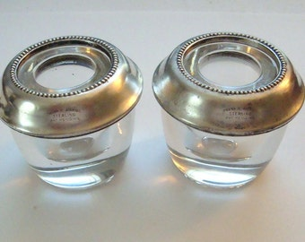 Vintage Frank M Whiting Candle Stick Holders of heavy crystal or glass and sterling silver. Very elegant.