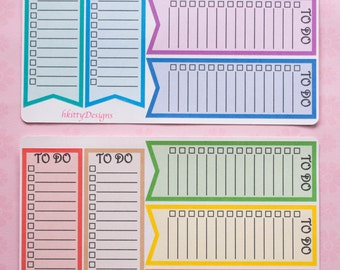 Long Double Box To Do Checklist Stickers for your ECLP, Filofax, Happy Planner or PPP - 10 Stickers (Brights)