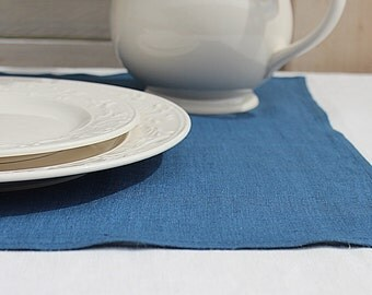 Steel blue linen napkins / Set of 12 / Washed linen napkins