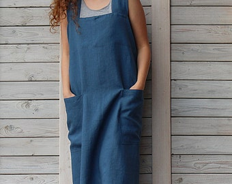 Linen Square-Cross Apron / Pinafore / No-ties Apron / Japanese Apron. Hand made by LinenSky.