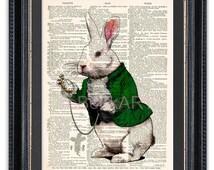 Alice in Wonderland White Rabbit, Dictionary Art Print, White Rabbit in a Suit, Alice in Wonderland Art, Alice in Wonderland Print