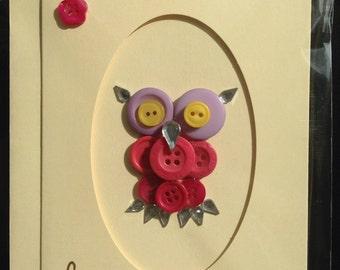 Handmade Owl Birthday Card - craft - buttons - women - birds - owls