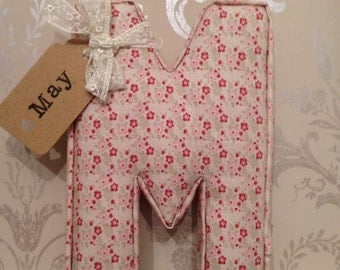 Fabric letter, padded, wall letter, name tag, handmade, personalised, initial, name, shabby chic, nursery, decor, wallart, baby girl