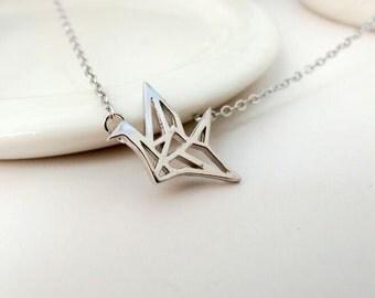 sterling silver paper crane necklace delicate necklace simple necklace minimalist necklace