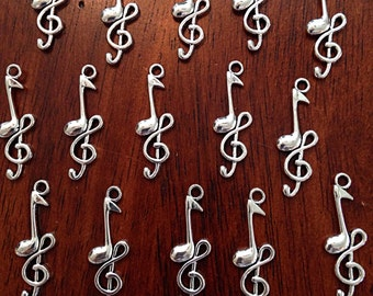 Bulk 20 Music Notes Charms, Antique Silver Charms, Silver Music Charms, Treble Clef Charms, Crafts and Jewelry Supplies and Findings