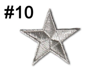 Silver Star Patch Decoration Star Badge Star Silver color Iron on 5cm x 5cm