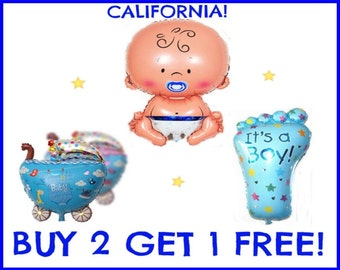 """3 X Set of Baby Boy Balloons include Head Feet stroller """" its a Girl """" party celebration shower"""