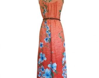 Peach Hawaiian Floral Maxi Dress Size M