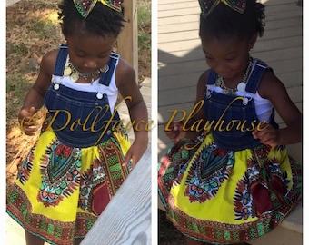 Toddler Overalls Dashiki Dress