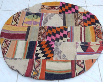 3'3'' / 100 cm FREE US Shipping, Round Patchwork Rug, Decorative Patch Rugs, Colorful Vintage Handmade Recycled Patchwork Kilim Carpet