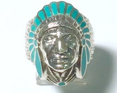 Sterling Silver Turquoise Indian Headdress Ring
