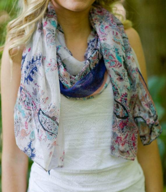 boho scarf bohemian scarf paisley scarf by goldenlilyshop