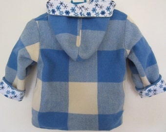 Toddler jacket - vintage wool blanket, blue check