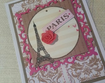 Paris  rose themed card/ eiffel tower/ hand made blank card/ any occassion card/ thank you card/ birthday card