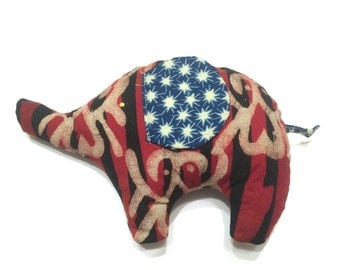 Authentic African Fabric Elephant Pillow
