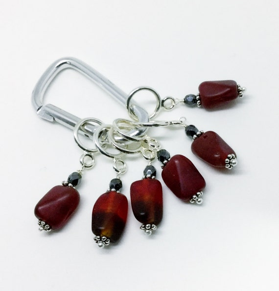 Lace Knitting Stitch Markers : Knitting Stitch Markers, Lace Stitch Marker, Red and Black Glass Bead Marker,...
