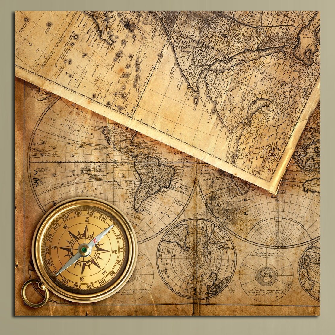 Vintage World Map With Compass Images