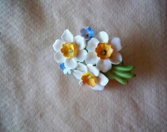 Vintage Denton China Flower Brooch