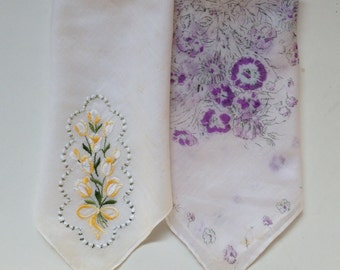 Vintage Handkerchiefs, Violet Print, Yellow Flowers Embroidery, Two Women's Floral Hankies, 1940s, Valentines Day, For Bride, Something Old