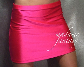 Neon pink shiny spandex hipster mini skirt