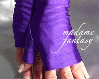 Purple shiny spandex fingerless gloves