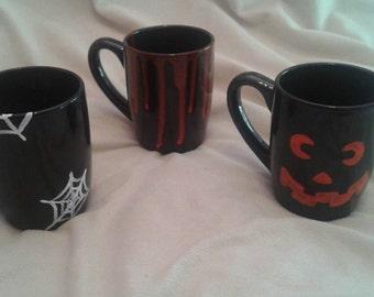 Halloween mugs pumpkin bleeding spider webs