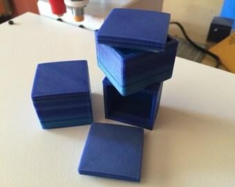 Mini Jewelry Box w/ Dark Blue Striping