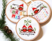 Cross stitch Christmas Cards and Ornaments - 3 modern cute, easy robin designs, fun xmas craft cross stitch patterns PDF - Instant download