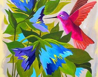 Hummingbird painting, Summer Hummer and Flowers, Original Acrylic painting Wall Art decor shabby chic painting Michael Hutton  9 x 12 panel