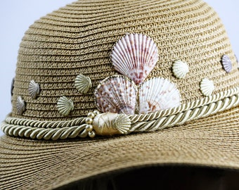 Sea Theme Shell Beige Brown Straw  Women Summer Hat