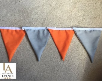 Double Sided Grey & Neon Orange Fabric Bunting