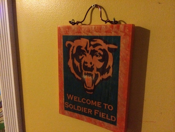 Chicago Bears Man Cave Signs : Chicago bears throwback football stadium game room man cave