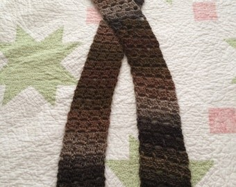 Crochet scarf fall brown taupe gray soft decorative warm