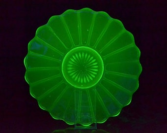 Green Uranium Glass Cake Plate